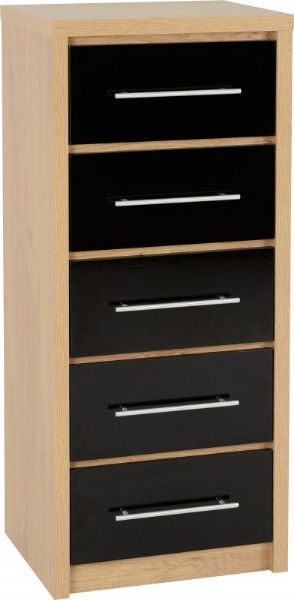 Seville 5 Drawer Narrow Chest BLACK